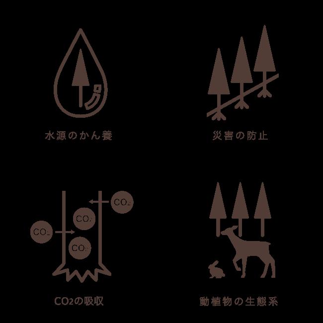 水源のかん養 災害の防止 CO2の吸収 動植物の生態系